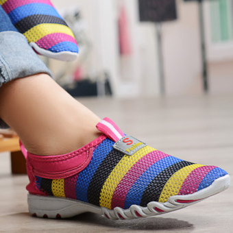 Women Shoes Summer Mesh Breathable Soft Casual Slip On Low Top Fashion Sport Shoes Red - intl