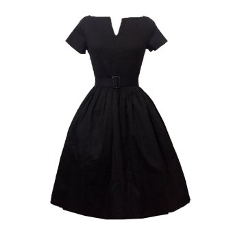 Retro Style V-neck Dress Big Hem With Belt(Black) - Intl