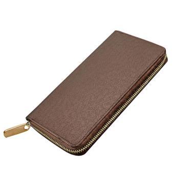 Men Multipurpose Credit Cards Holder Long Zipper Change Clutch Wallet Purse Bag Brown - intl