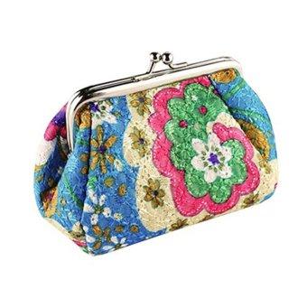 Moonar Women Fashion Cute Embroidered Case Wallet Card Keys Purse Vintage Flower Bags (Blue) - intl