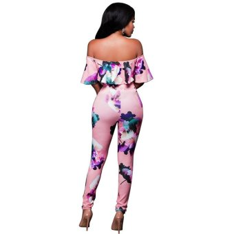Hot Ruffle Off Shoulder Jumpsuit Womens Elegant Floral Plus Size Party Club Overalls Sexy Rompers Womens Jumpsuits - intl