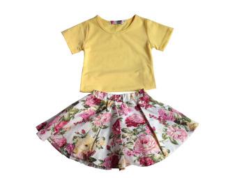 Bộ áo thun chân váy hoa ShopGiaSoc D050 (Vàng)