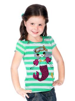 Áo thun bé gái có tay in hình nàng tiên cá Kavio Kids (Xanh lá)
