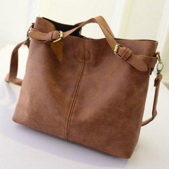 Simple Tote Bag Solid Color Buckle Design Women(Light Brown) - intl