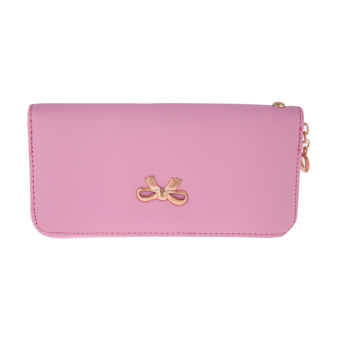 Women Fashion Leather Card Holder Long Wallet(Pink) - intl