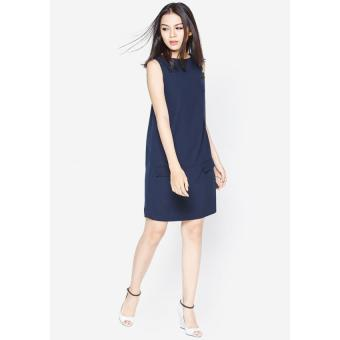 Đầm suông phối túi giả xanh Đen Fadfashion F158008D