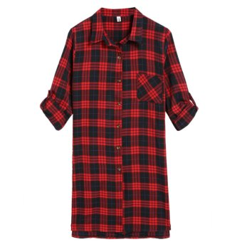 Cyber 2016 Women Long Sleeve Grid Loose Long Shirt T-Shirt (Red) - Intl