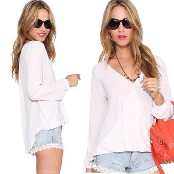 Gamiss Women V-Neck Chiffon Button Loose Shirts Plus Size (White)--TC - intl