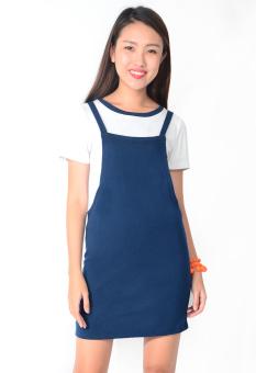 Bộ Đầm Yếm Kèm Áo Thun (Xanh Navy)