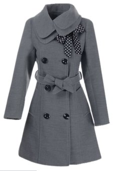 Sunweb Women Casual Double-breasted Luxury Long Wool Coat with Belt (Gray) - intl