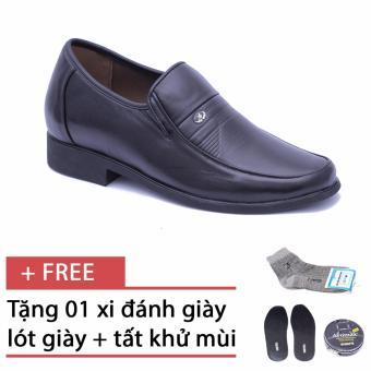 Giày nam da thật tăng chiều cao Smartmen GK-96 (Đen), tặng kèm 1 đôi tất, 1 lót giày và 1 hộp xi đánh giày cao cấp
