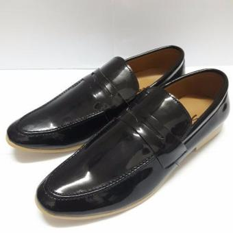 Giày lười công sở da bò (Đen bóng)