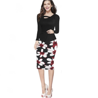 Women Polyester Floral Faux Two Piece Bodycon Dress (Black) - intl