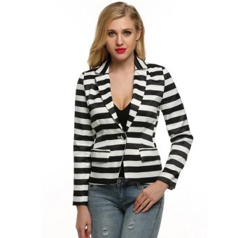 Sunweb FINEJO Women Lapel Neck Long Sleeve Striped Waist Seam Basic Jacket Blazer Coat - Intl - intl
