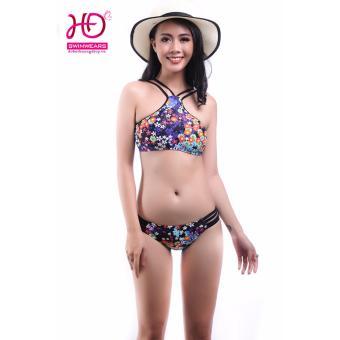 Bikini áo yếm hoa cúc ba màu 17013