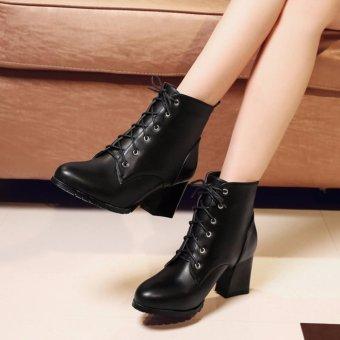 Giày boot nữ cổ ngắn đế vuông sành điệu êm chân GBN132