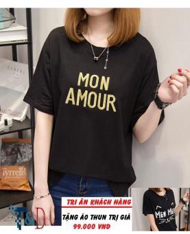 Áo Thun Nữ In Hình Mon Amour Dễ Thương Trần Doanh D323 ( Màu Đen ) + Tặng Áo Thun In Hình T&D Cao Cấp