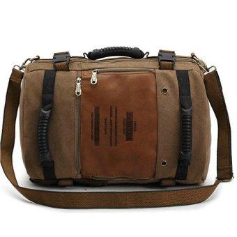KAUKKO FH09 Men Multipurpose Canvas Large Shoulder Bag Backpack Dark Khaki - Intl - intl