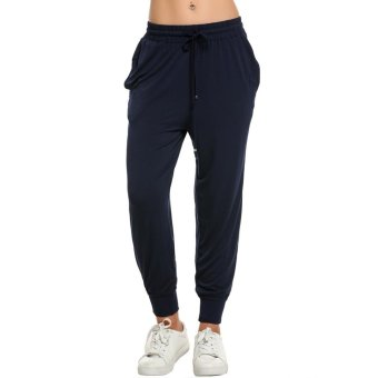 Linemart Fashion Women Casual Drawstring Loose Soft Jogger Pants Sportwear ( Navy Blue ) - intl