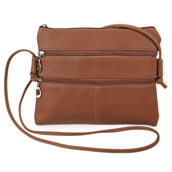 Patchwork Solid Color Zippers Clutch Shoulder Messenger Bag for Women - intl