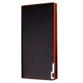 Men Wallets Long Thin Wallet Male Money Purses Flip Up Wallet orange - intl