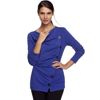 Sunweb ACEVOG Stylish Lady Women Casual Long Sleeve Draped Neck Button Decoration Long Top Bottoming Shirt Solid Warm Blouse ( Blue ) - intl