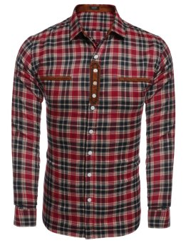 Linemart Men's Turn Down Collar Long Sleeve Plaid Casual Button Down Shirt ( Red ) - intl