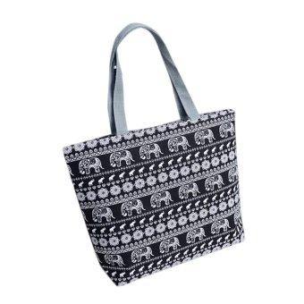 Fashion Women Girls Printing Canvas Shopping Handbag Shoulder Tote Shopper Bag Black - intl