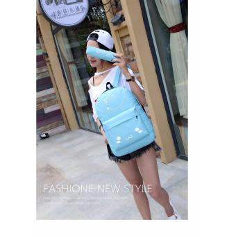 Balo thời trang tặng kèm ví đựng bút Ngôi sao Gg63 (xanh)