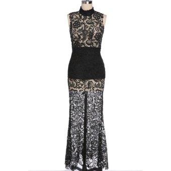 Cyber Sexy Women's Sleeveless Lace Long Party Full Dress ( Black ) - intl