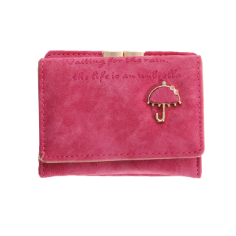 Women Wallet Bags Best Leather Button Clutch Purse(rose red)