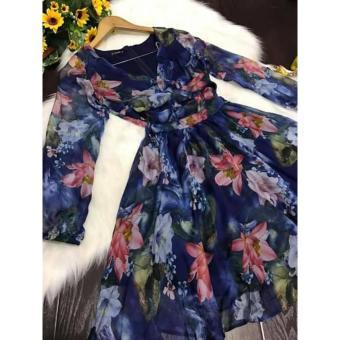 Đầm xòe hoa xoắn ngực (Xanh)