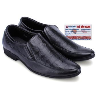 HL7159 - Giày lười nam vân cá sấu Huy Hoàng màu đen