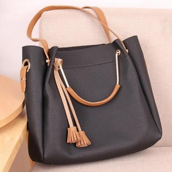 2PCS Set Womens PU Premium Leather Bag Top-Handle Bags Tote Bags Cross Body Shoulder Bags - intl