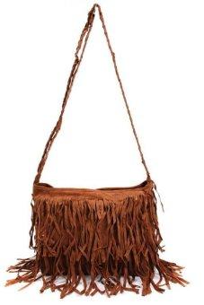 LALANG Women Tassel Suede Fringe Cross-body Shoulder Bag Handbag Coffee