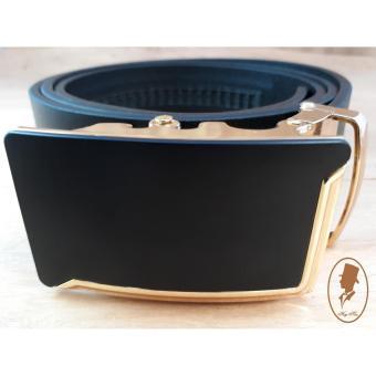 (Hugeman) Thắt lưng dây nịt nam da thật trơn màu đen TL00163