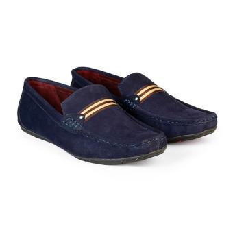 Giày Lười Nam Da Bò Lộn HC1225 (Xanh đen)