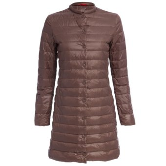 Women Padded Coat Collarless Long Sleeve Solid Color (Camel) - Intl