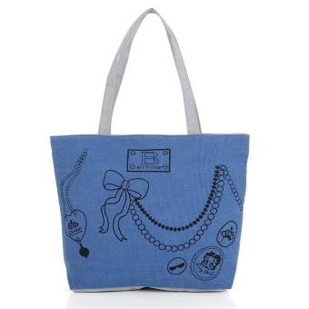 Girl Canvas Shoulder Bag Handbag Tote Shopping HandBags (Blue) - Intl