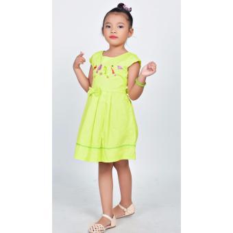 Đầm xòe thêu chim Somy Kids xanh lá