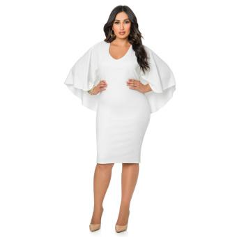 Women Sexy Bodycon White Plus size batwing Mini Party Dress plus size XL (Intl)