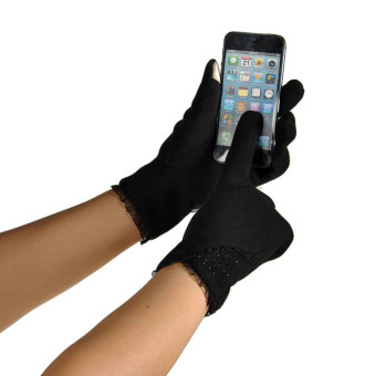 Touch Screen Winter Warm Wrist Gloves Mittens Black