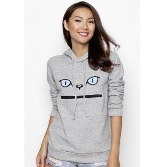 Áo khoác hoodie nữ thêu mèo CIRINO (Xám)