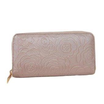 Lady Women Zipper Leather Clutch Wallet Long Card Rose Embossed Wallet Khaki - intl