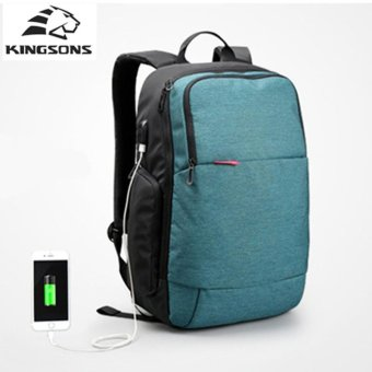Lan-store Premium Quality Male / Female Backpack--External USB Charge Laptop Backpack Anti-theft Notebook Computer Bag 15.6 inch for Business Men Women Travel Bags (Blue) - intl