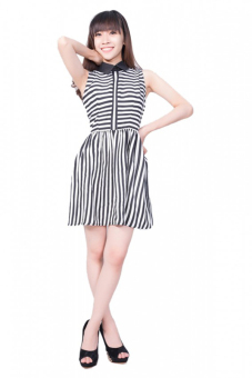 Đầm kẻ sọc Suvanna MDB05 (Đen)