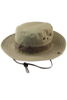 2 in 1 Unisex Adults Wide Brim Fishing Climbing Sun Bucket Hat Cowboy Hat Cap with Adjustable Chin Cord Khaki - intl