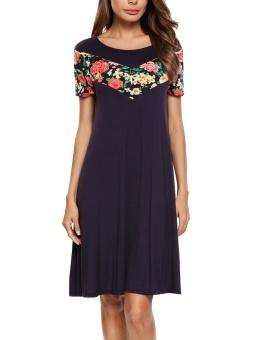 Cyber Women Fashion O-Neck Short Sleeve Floral Applique Patchwork Soft Loose Dress ( Dark Blue ) - intl
