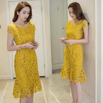 Đầm Ren Đuôi Cá Vàng Cao Cấp Tay Con Sunshine