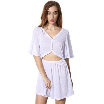 Cyber FINEJO Women's Casual V-Neck Medium Sleeve Backless Hollow Out 2 Piece Mini Dress ( White ) - Intl